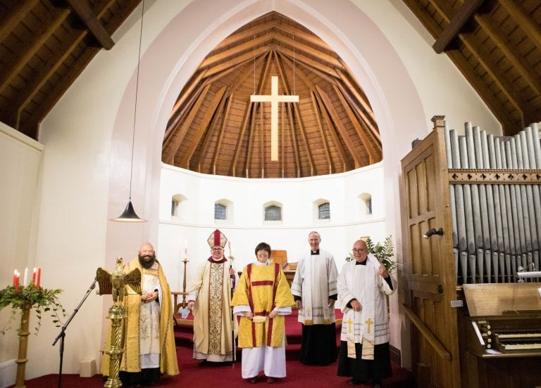 Image: The ordination of the Rev Liz Crumlish to the diaconate in St Oswald's, Maybole, from left to right: the Very Rev Reuben Preston, the Rt Rev Kevin Pearson, the Rev Liz Crumlish, the Rev Canon Drew Sheridan, and the Rev Jim Geen.